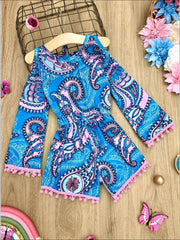 Girls Cold Shoulder Drawstring Romper with Pom Pom or Crochet Trim - Turquoise / 2T/3T - Girls Jumpsuit