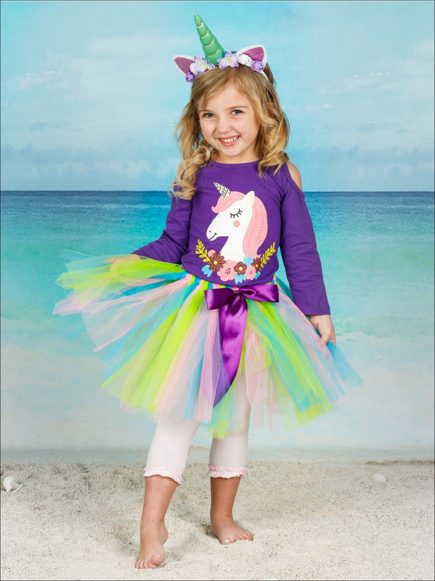 Girls Cold Shoulder Floral Unicorn Top & Multicolor Bow Tutu Skirt Set - Girls Spring Casual Set