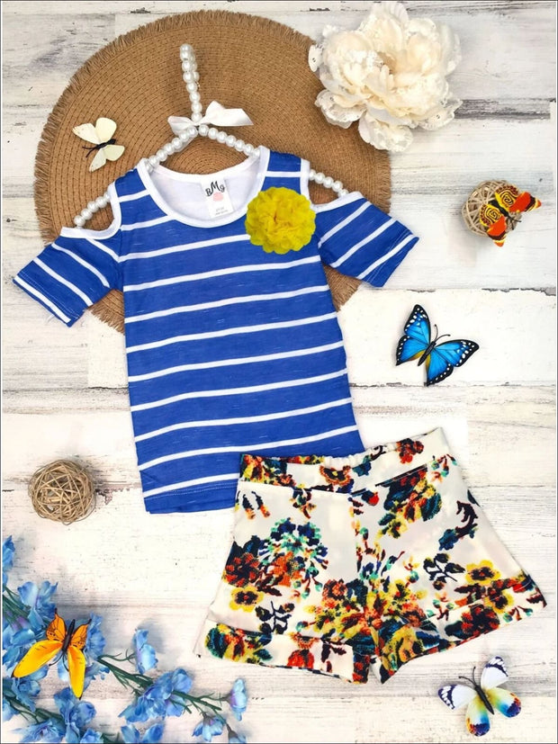 Girls Cold Shoulder Top & Cuffed Shorts Set - Girls Spring Casual Set