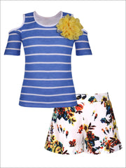 Girls Cold Shoulder Top & Cuffed Shorts Set - Blue / 2T/3T - Girls Spring Casual Set