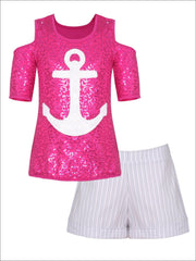 Girls Cold Shoulder Top & Cuffed Shorts Set - Fuchsia / 2T/3T - Girls Spring Casual Set