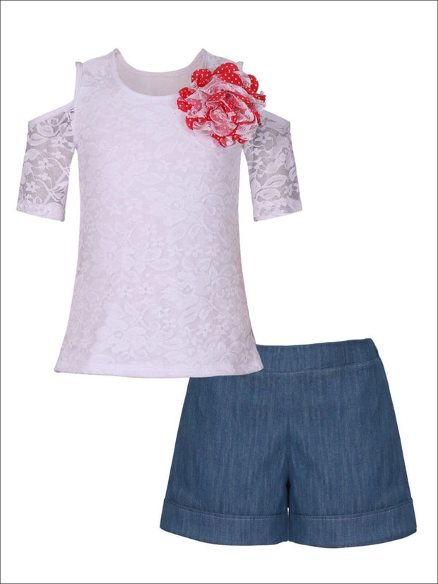 Girls Cold Shoulder Top & Cuffed Shorts Set - White / 2T/3T - Girls Spring Casual Set