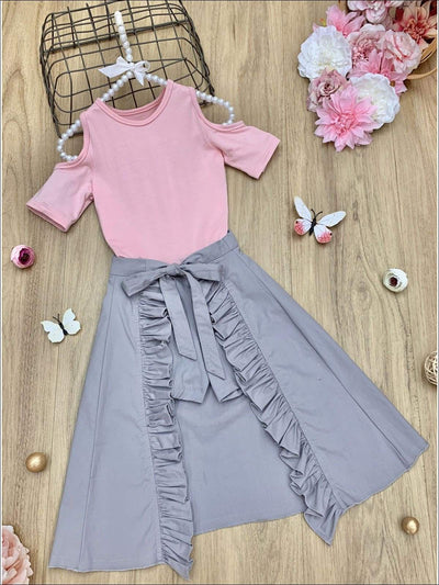Girls Cold Shoulder Top and Ruffled Skirted Shorts Set - Grey / 2T/3T - Girls Spring Casual Set