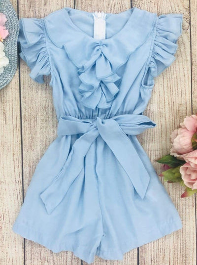 Girls Collared Flutter Sleeve Ruffled Romper With Sash - Girls Jumpsuit