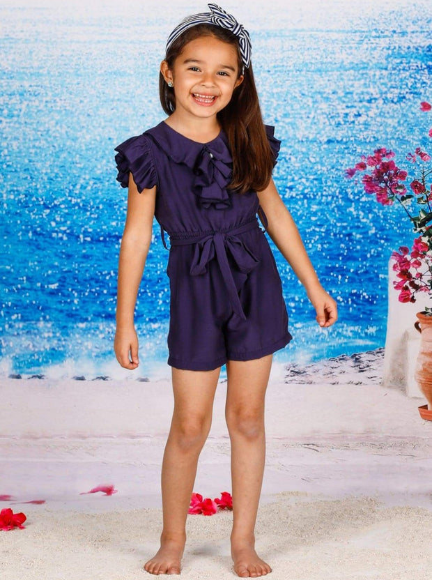 Girls Collared Flutter Sleeve Ruffled Romper With Sash - Navy / 2T/3T - Girls Jumpsuit