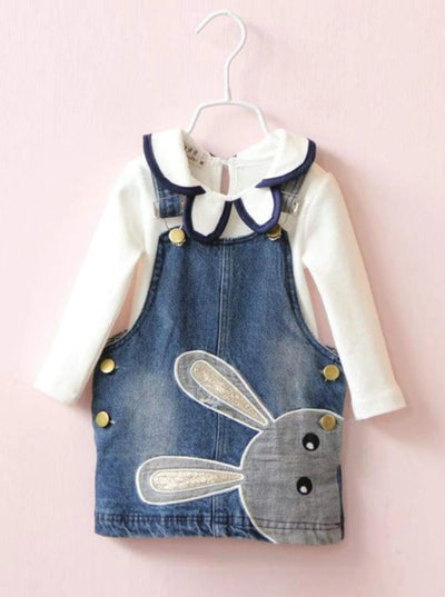 Girls Collared Long Sleeve Top & Buttoned Bunny Denim Dress Set - Girls Spring Casual Dress