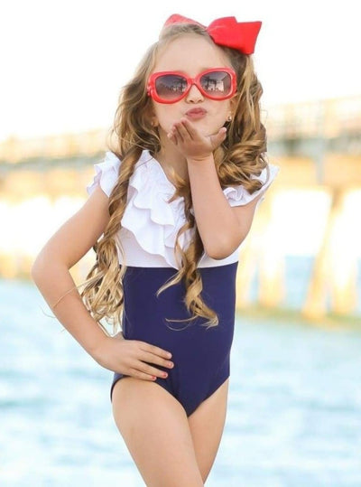 Girls Color Block Ruffle Top One Piece Swimsuit - Girls One Piece Swimsuit