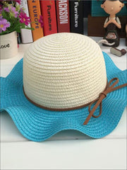 Girls Colorful Wave Edge Straw Hat - Blue - Girls Hats