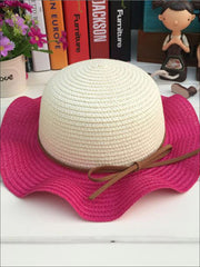 Girls Colorful Wave Edge Straw Hat - Hot Pink - Girls Hats
