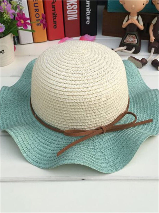Girls Colorful Wave Edge Straw Hat - Mint - Girls Hats