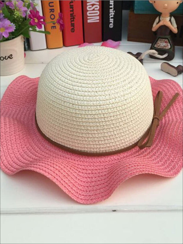 Girls Colorful Wave Edge Straw Hat - Pink - Girls Hats