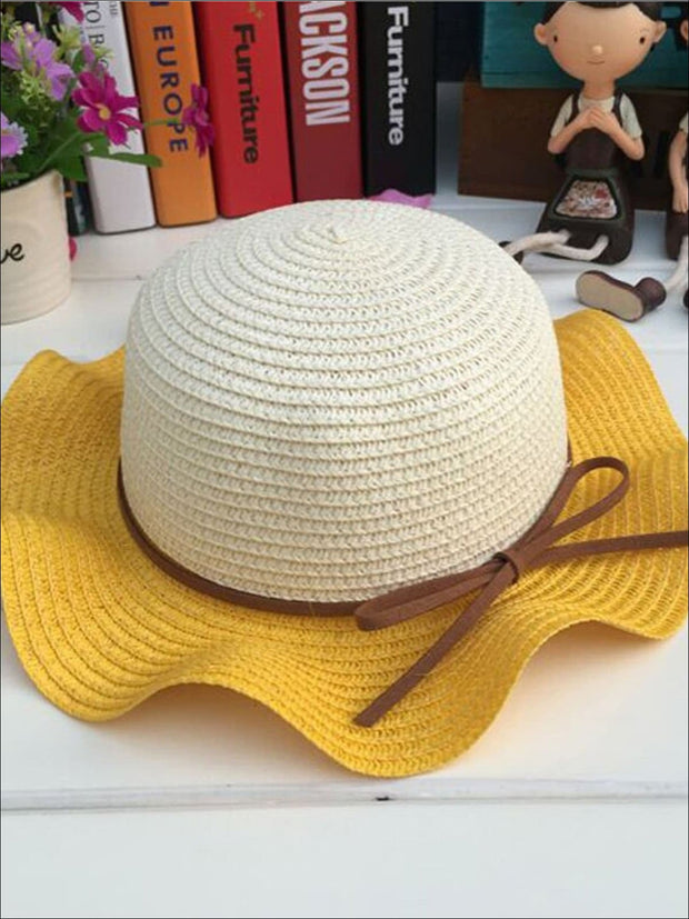 Girls Colorful Wave Edge Straw Hat - Yellow - Girls Hats