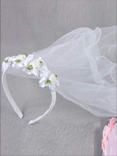 Girls Communion Rose Headband & Tiered Veil - Hair Accessories