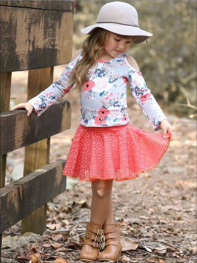 Girls Coral & Floral Cold Shoulder Top with Lace Skirt Set - Girls Fall Dressy Set