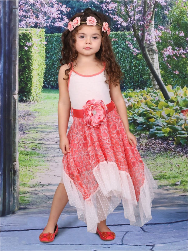 Girls Coral Lace Sidetail Halter Dress with Ruffle Hem - Girls Spring Dressy Dress