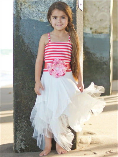 Girls Coral/Creme Hankerchief Dress With Flower Belt - Coral Creme / 4T - Girls Spring Dressy Dress