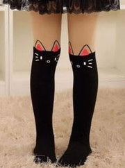 Girls Cotton Cartoon Tights - Black kitty / Height 90 to 115cm - Girls Accessories