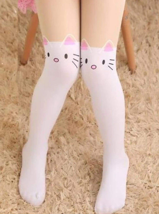 Girls Cotton Cartoon Tights - White Kitty / Height 90 to 115cm - Girls Accessories