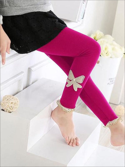 Girls Cotton Lace Bow Leggings - Pink / 2T - Girls Leggings