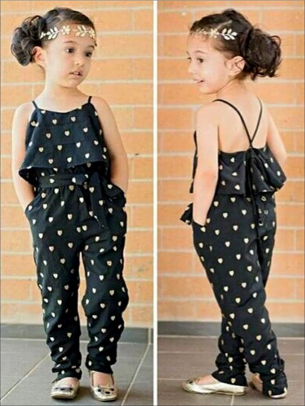 Girls Cotton Sleeveless Heart Print Jumpsuit - Girls Jumpsuit