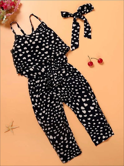 Girls Cotton Sleeveless Heart Print Jumpsuit - 2T - Girls Jumpsuit