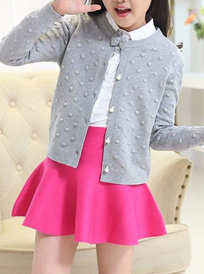 Girls Cozy Knitted Button Up Cardigan With Bow - Grey / 4T - Girls Sweater