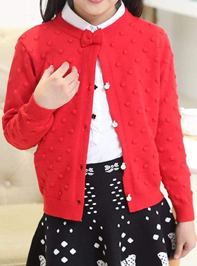 Girls Cozy Knitted Button Up Cardigan With Bow - Red / 4T - Girls Sweater