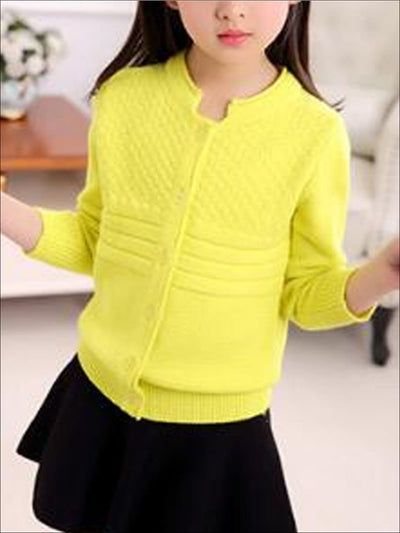 Girls Cozy Knitted Button Up Cardigan - Yellow / 4T - Girls Sweater