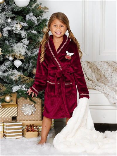 Girls Cozy Plush Holiday Robe - Red / 4T/5Y - Girls Christmas Pajama