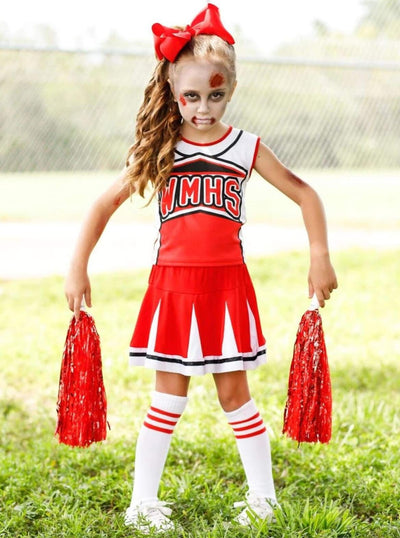 Girls Creepy Zombie Cheerleader Halloween Costume - Red / 3T - Girls Halloween Costume