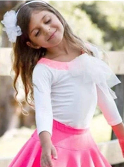 Girls Creme 3/4 Sleeve Mesh Bow Top - 3T / Creme/Pink - Girls Fall Top