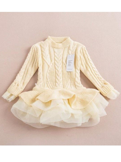 Girls Creme Chunky Knit Tutu Peplum Sweater - Girls Sweater