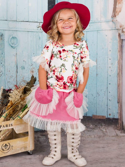 Girls Crème & Dusty Rose Skirt & Floral Top Set - Girls Fall Casual Set