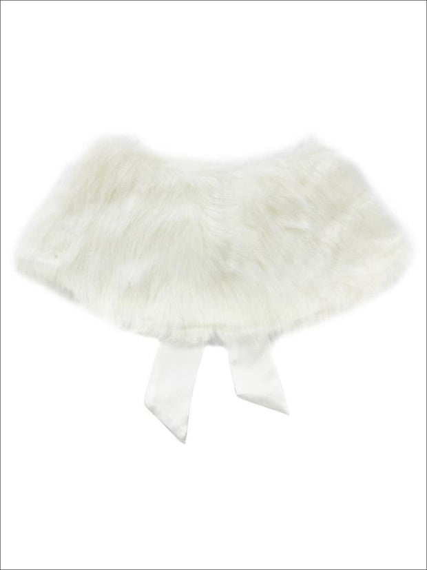 Girls Creme Faux Fur Princess Cloak/Bolero - Creme / 25cm/10.0 18cm/7.0 - Girls Halloween Costume