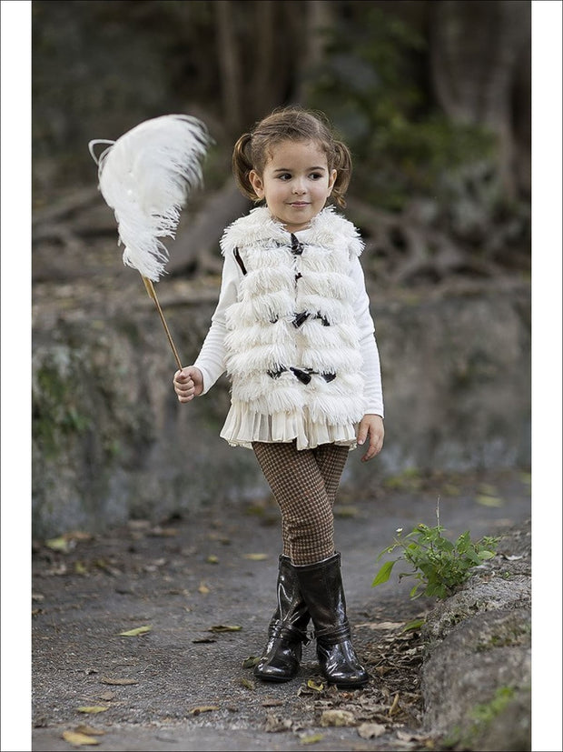 Girls Creme Furry Vest With Pleated Chiffon Trim - Fall Low Stock