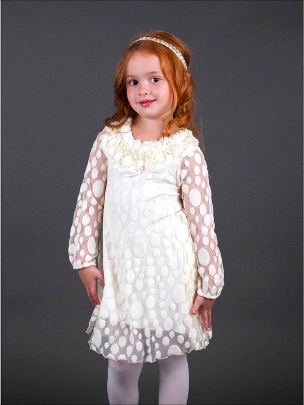 Girls Creme Lace Dress with Decoration