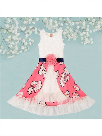 Girls Creme Lace Princes Dress w/ Pink Floral Print Overlay Ruffled Skirt - Girls Spring Dressy Dress