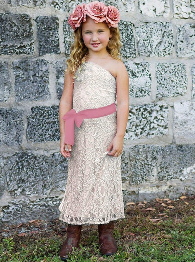 Girls Crème One Shoulder Lace Dress w/ Royal Blue Sash Ribbon Belt - Girls Spring Dressy Dress