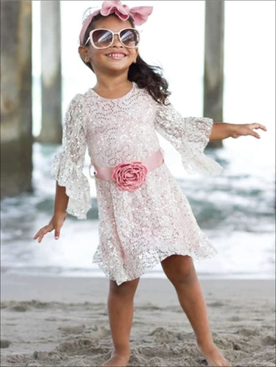 Girls Crème & Pink Sequin A Line Dress with Flower Belt - Girls Spring Dressy Dress