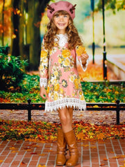 Girls Crochet Bib Hem & Sleeve Boho Dress - Girls Fall Casual Dress