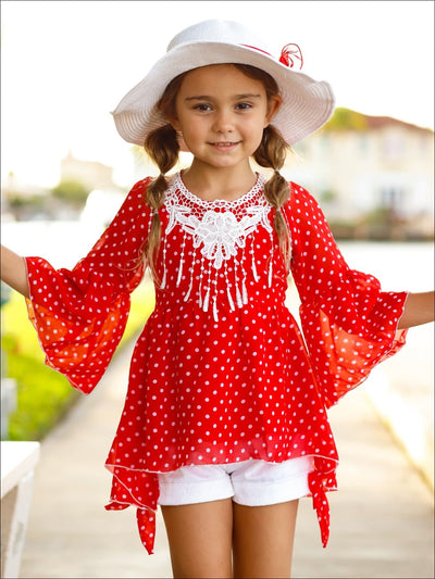 Girls Crochet Fringe Bib Boho Sleeve Tunic & Cuffed Bow Shorts Set - Girls Spring Casual Set