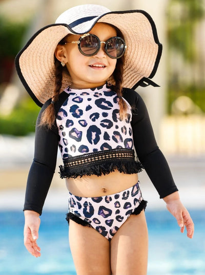 Girls Crochet Fringe Rash Guard Two Piece Swimsuit - Girls Two Piece Swimsuit