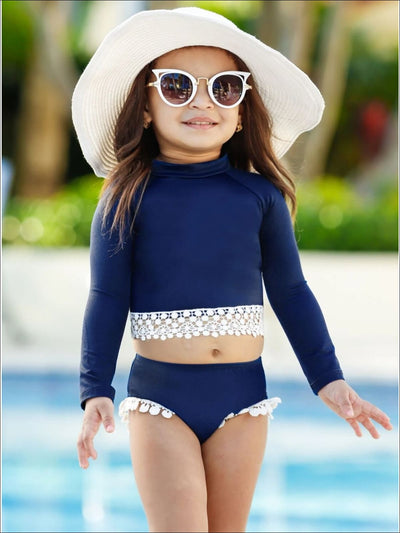 Girls Crochet Hem Top and Pom Pom Bottom Rash Guard Two Piece Swimsuit - Girls Two Piece Swimsuit