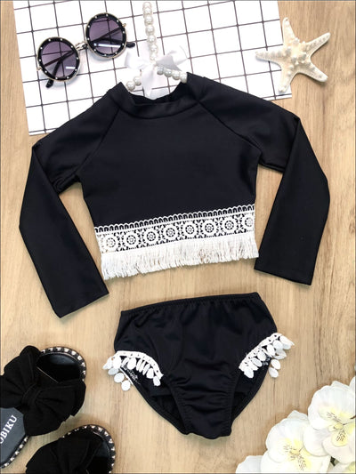Girls Crochet Hem Top and Pom Pom Bottom Rash Guard Two Piece Swimsuit - Black / 2T/3T - Girls Two Piece Swimsuit