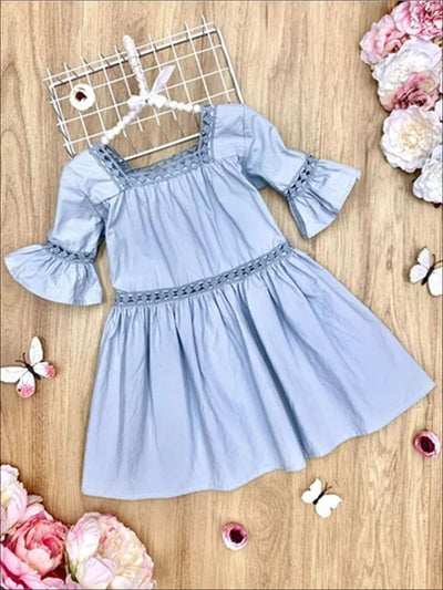 Girls Crochet Ruffled Peasant Dress - Grey / 2T - Girls Spring Casual Dress