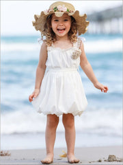 Girls Crochet Strap Bubble Dress with Sash & Flower Clip - Girls Spring Casual Dress