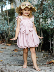 Girls Crochet Strap Bubble Dress with Sash & Flower Clip - Pink / 2T/3T - Girls Spring Casual Dress