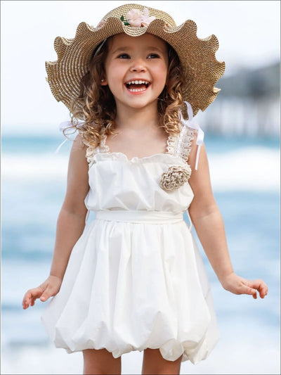 Girls Crochet Strap Bubble Dress with Sash & Flower Clip - White / 2T/3T - Girls Spring Casual Dress