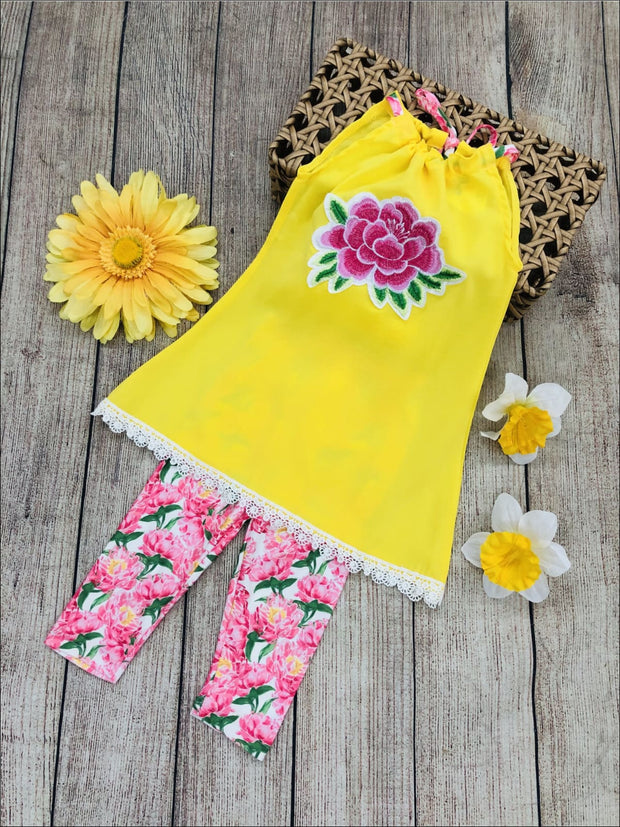 Girls Crochet Trimmed Appliqued Halter Tunic & Printed Leggings Set - Girls Spring Casual Set