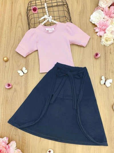 Girls Crop Top and Hi-Lo Skirted Shorts Set - Grey / 2T/3T - Girls Spring Casual Set